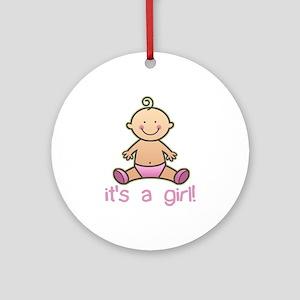 New Baby Girl Cartoon Ornament (Round)