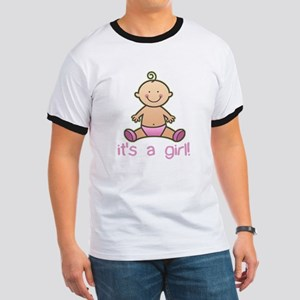 New Baby Girl Cartoon Ringer T