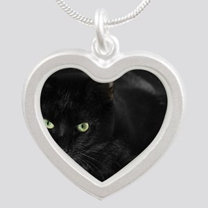 Mystical Black Cat Silver Heart Necklace