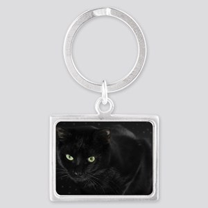 Mystical Black Cat Landscape Keychain