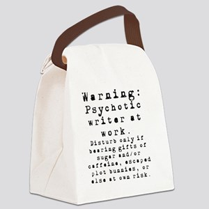 Caution: Writer at Work Canvas Lunch Bag