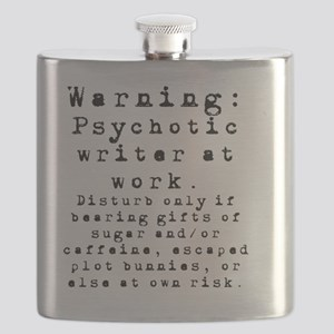 Caution: Writer at Work Flask