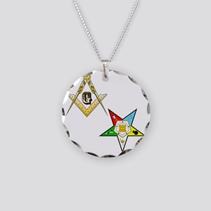 Masonic - Eastern Star glass Necklace Circle Charm