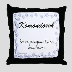 Komondor Pawprint Throw Pillow