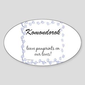 Komondor Pawprint Oval Sticker