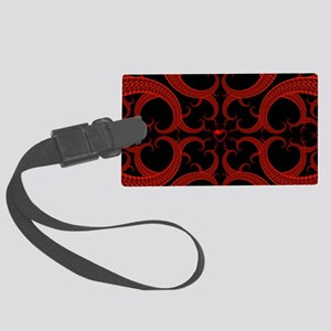 Red and Black Goth Fractal Art H Large Luggage Tag