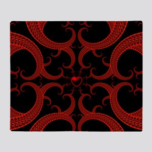 Red and Black Goth Fractal Art Heart Throw Blanket