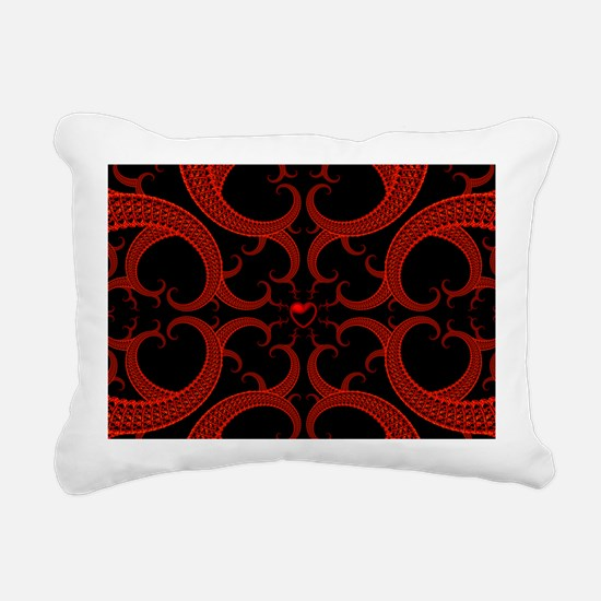 Red and Black Goth Fract Rectangular Canvas Pillow