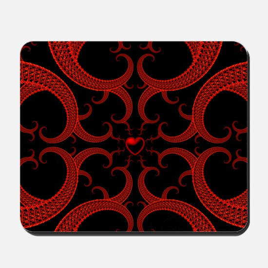 Red and Black Goth Fractal Art Heart Pat Mousepad