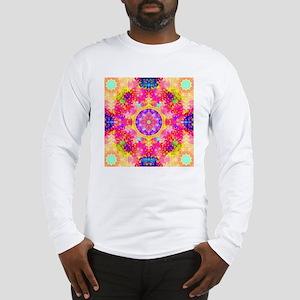 Pink Fractal Art Mandala Patte Long Sleeve T-Shirt