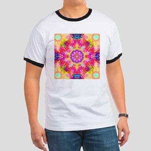 Pink Fractal Art Mandala Pattern Ringer T