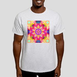 Pink Fractal Art Mandala Pattern Light T-Shirt