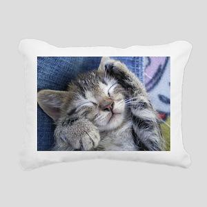 Sleeping Kitten Rectangular Canvas Pillow