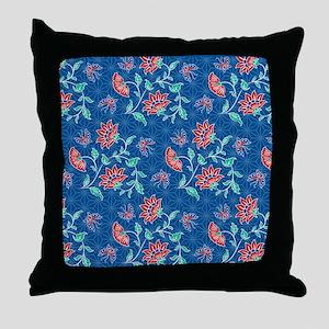 duvet king aiyana blue Throw Pillow