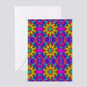 Pink Turquoise and Yellow Fractal Ar Greeting Card