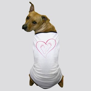 Pink footprints in Love Dog T-Shirt