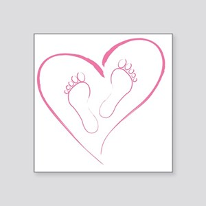 "Pink footprints in Love Square Sticker 3"" x 3"""