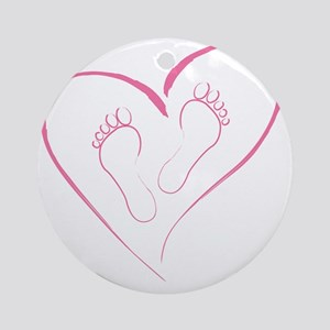 Pink footprints in Love Round Ornament