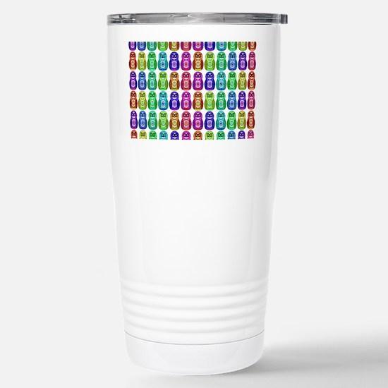 Rainbow Matryoshka Owl  Stainless Steel Travel Mug