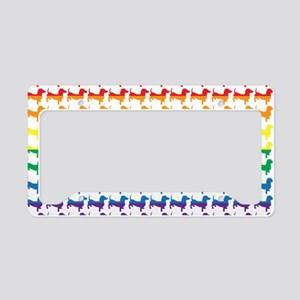 Doxie Gay Pride Flag Print License Plate Holder