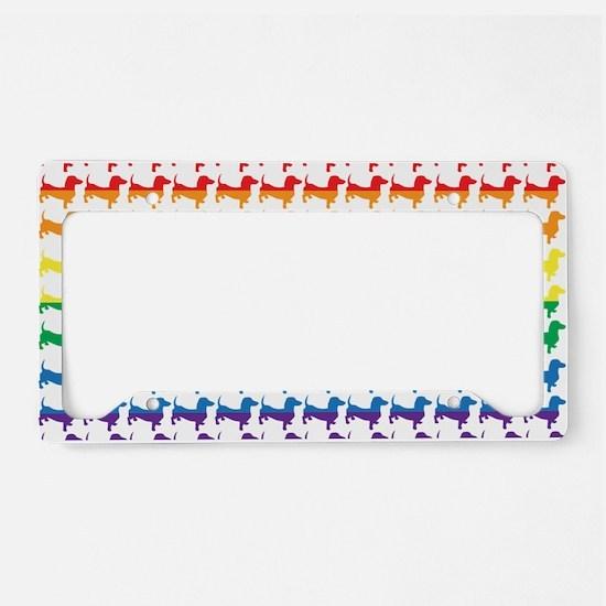 Doxie Gay Pride Flag Print License Plate Holder