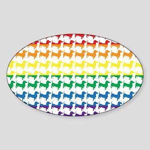 Doxie Gay Pride Flag Print Sticker (Oval)