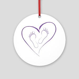 Purple Footprints in Love Round Ornament