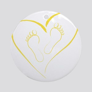 Yellow Footprints in Love Round Ornament