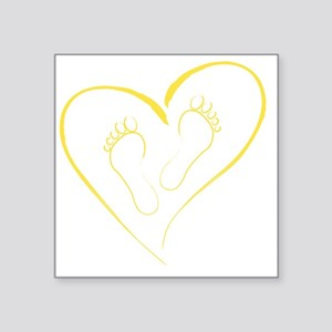 "Yellow Footprints in Love Square Sticker 3"" x 3"""