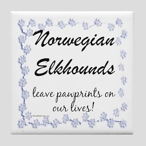 Elkhound Pawprint Tile Coaster