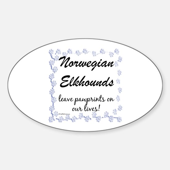 Elkhound Pawprint Oval Decal