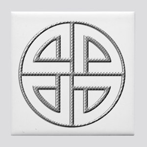 Diamond Plate Shield Knot Tile Coaster