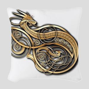 Gold Norse Dragon Woven Throw Pillow