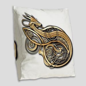 Gold Norse Dragon Burlap Throw Pillow