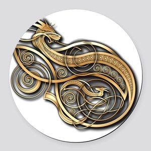 Gold Norse Dragon Round Car Magnet