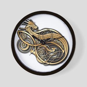 Gold Norse Dragon Wall Clock