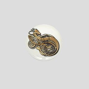 Gold Norse Dragon Mini Button