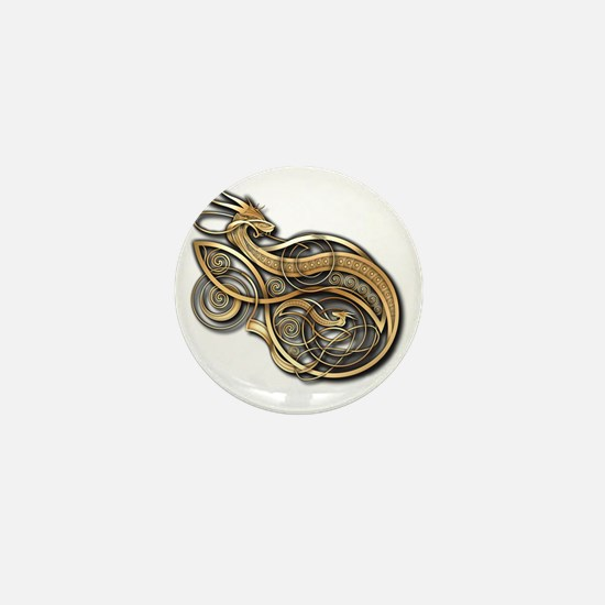 Gold Norse Dragon Mini Button