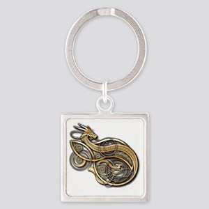 Gold Norse Dragon Square Keychain