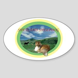 Sheltie Time Oval Sticker