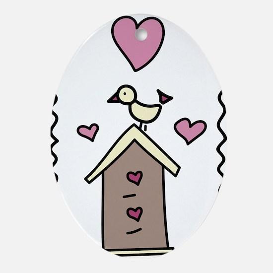 Love Bird Home Oval Ornament