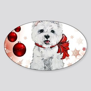 Westie Red Christmas Sticker (Oval)
