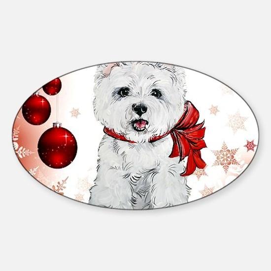 Westie Red Christmas Sticker (Oval)