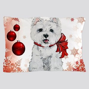 Westie Red Christmas Pillow Case