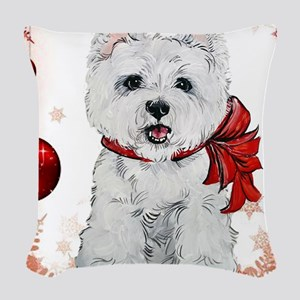 Westie Red Christmas Woven Throw Pillow