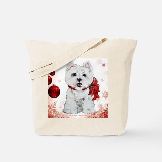 Westie Red Christmas Tote Bag