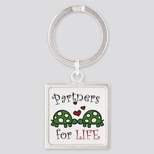 Partners For Life Square Keychain