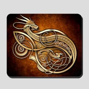 Gold Norse Dragon Mousepad