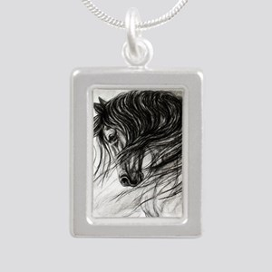 Mane Dance art Silver Portrait Necklace