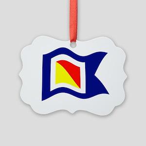 POYC Burgee Wave Wht Border Picture Ornament